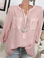 cheap -Women's Shirt Solid Colored Long Sleeve Lace V Neck Tops Loose Cotton Basic Top White Blushing Pink Army Green