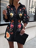cheap -Women's Going out Blouse Shirt Floral Flower Long Sleeve Print Shirt Collar Tops Lantern Sleeve Basic Top Rainbow