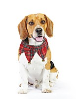 cheap -Dog Cat Collar Dog Scarf Color Block Plaid / Check Fashion Dog Clothes Red / Green Costume Fabric S M