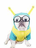 cheap -Dog Costume Hoodie Alien Funny Party Halloween Dog Clothes Yellow-green color block sweatshirt Costume Cotton L XL 2XL 3XL