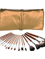 cheap -13pcs professional makeup brush set premium synthetic hair cosmetic flat top kabuki brush foundation powder eyeliner powder eyeshadow lip brush kit with flax cosmetic bag (golden)