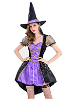 cheap -Witch Dress Cosplay Costume Outfits Adults' Women's Cosplay Halloween Halloween Festival / Holiday Polyester Purple Women's Easy Carnival Costumes / Hat / Hat