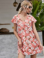 cheap -Women's Shift Dress Short Mini Dress - Short Sleeve Floral Ruffle Print Summer V Neck Casual Flare Cuff Sleeve Loose 2020 Blushing Pink XS S M L