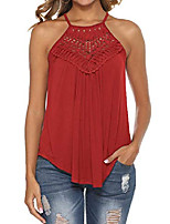 cheap -flowy tank tops for women lace dressy pleated casual sleeveless summer top red m