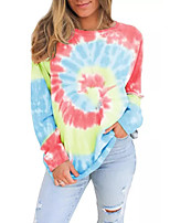 cheap -Women's Daily Pullover Sweatshirt Tie Dye Basic Hoodies Sweatshirts  Loose Blue Red Brown