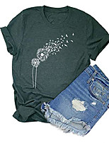 cheap -casual dandelion make a wish women& #39;s t-shirt cute graphic short sleeve summer tee shirts with funny sayings & #40;m, green1& #41;