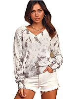 cheap -Women's Basic Knitted Geometric Pullover Long Sleeve Loose Sweater Cardigans V Neck Fall Gray