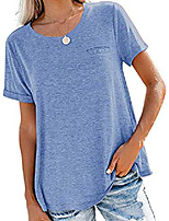 cheap -women& #39;s tops summer roll up short sleeve shirts crewneck casual loose tees blue 2xl