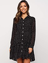 cheap -Women's Shift Dress Short Mini Dress - Long Sleeve Polka Dot Print Fall Shirt Collar Casual Daily 2020 Black S M L XL