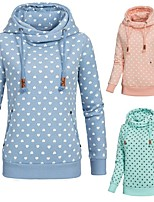 cheap -Women's Womens Hoodie Hoodies Pullover Hoody Blue Pink Artistic Style Cowl Neck Fleece Cotton Heart Cute Sport Athleisure Pullover Long Sleeve Warm Soft Comfortable Everyday Use Exercising General Use