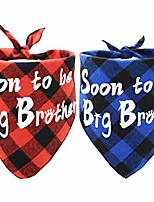 cheap -2pcs soon to be big brother dog bandana plaid pet baby announcement scarf gender reveal accessories red and blue