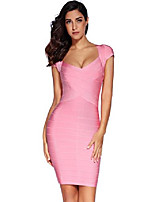 cheap -women's rayon sexy short sleeve square neck bandage dress large pink