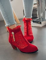 cheap -Women's Boots Wedge Heel Pointed Toe Casual Daily Lace Solid Colored PU Booties / Ankle Boots Black / Red / Beige
