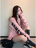 cheap -Women's Going out T-shirt Letter Long Sleeve Round Neck Tops Loose Basic Basic Top Blue Blushing Pink