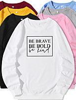 cheap -Women's Sweatshirt Artistic Style Crew Neck Letter Printed Sport Athleisure Pullover Long Sleeve Warm Soft Oversized Comfortable Everyday Use Causal Exercising General Use