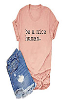 cheap -be a nice human t-shirt women novelty cute graphic funny letter print tee top & #40;pink 2, xl& #41;