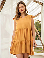 cheap -Women's Shift Dress Knee Length Dress - Sleeveless Solid Color Patchwork Summer V Neck Casual 2020 Yellow S M L XL