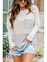 cheap -Women's Blouse Shirt Color Block Long Sleeve Patchwork Round Neck Tops Loose Basic Basic Top Beige
