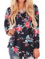 cheap -women's v neck short sleeve loose long plain blouse tee shirt tops 741-black floral 12