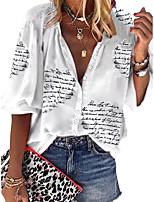 cheap -Women's Blouse Shirt Letter Cowl Neck Tops Loose Basic Basic Top White