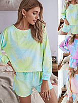 cheap -Women's Sweatshirt Set Sports Shorts Tie Dye One Shoulder Color Block Sport Athleisure Shorts Top Long Sleeve Breathable Soft Oversized Comfortable Everyday Use Casual Exercising General Use