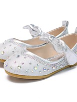 cheap -Girls' Flats Flower Girl Shoes Leather Little Kids(4-7ys) / Big Kids(7years +) Walking Shoes Crystal Pink / Gold / Silver Spring / Summer