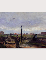 cheap -IARTS Hand Painted outskirts Oil Painting with Stretched Frame For Home Decoration With Stretched Frame