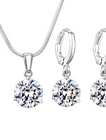 cheap -Women's Bridal Jewelry Sets Stylish Luxury Earrings Jewelry Silver For Wedding Party Work Promise Festival Three-piece Suit