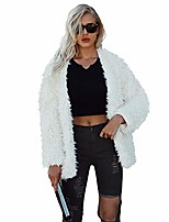 cheap -women fluffy fuzzy faux fur coat open front cardigan jacket coat winter outwear (off white,s)
