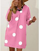cheap -Women's Shift Dress Knee Length Dress - Long Sleeve Polka Dot Print Fall V Neck Casual Cotton Loose 2020 White Blushing Pink Khaki Silver Light Blue L XL XXL 3XL 4XL 5XL