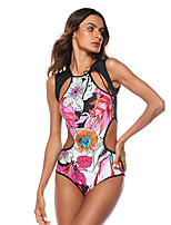 cheap -Women's One Piece Swimsuit Nylon Swimwear Breathable Quick Dry Sleeveless Swimming Surfing Water Sports 3D Print Summer / Stretchy