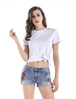cheap -Women's T-shirt Solid Colored Bow Round Neck Tops Basic Basic Top White Blushing Pink / Crop