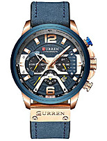 cheap -new fashion mens watch leather luxury brand sports and leisure quartz chronograph waterproof watch (rose gold blue)