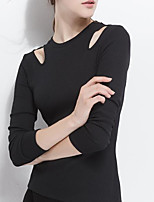 cheap -Women's Blouse Solid Colored Long Sleeve Cut Out Round Neck Tops Slim Cotton Sexy Basic Top White Black