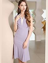 cheap -Mermaid / Trumpet Elegant Minimalist Graduation Cocktail Party Dress V Neck Sleeveless Knee Length Spandex with Sleek Ruffles 2020