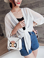 cheap -Women's Stylish Oversized Solid Color Plain Cardigan Half Sleeve Loose Sweater Cardigans Open Front Summer White Black