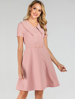 cheap -Women's A-Line Dress Knee Length Dress - Short Sleeve Solid Color Summer Shirt Collar Elegant Daily 2020 Blushing Pink S M L XL XXL
