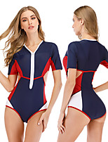 cheap -Women's One Piece Swimsuit Elastane Swimwear Breathable Quick Dry Short Sleeve Front Zip - Swimming Surfing Water Sports Summer / Stretchy