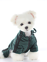 cheap -Dog Coat Jumpsuit Solid Colored Casual / Sporty Cute Casual / Daily Outdoor Winter Dog Clothes Warm Blue Green Costume Polyster XS S M L XL