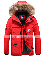 cheap -Men's Hiking Windbreaker Winter Outdoor Solid Color Thermal Warm Waterproof Windproof Breathable Winter Jacket Fishing Climbing Camping / Hiking / Caving White / Black / Red