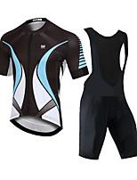cheap -CAWANFLY Men's Short Sleeve Cycling Padded Shorts Cycling Jersey with Bib Shorts Black Silver / Black Bike Moisture Wicking Sports Mountain Bike MTB Road Bike Cycling Clothing Apparel / Expert