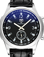 cheap -YAZOLE Men's Sport Watch Quartz Sporty Stylish Casual Water Resistant / Waterproof Stainless Steel PU Leather Black / White / Brown Analog - White Brown Black / White
