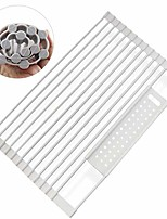 cheap -over the sink roll-up dish drying rack large 20.5''x12.6''. expandable roll-up vegitable drainer for kitchen, farmhouse, full silicone-coated stainless steell dish drying rack/gray