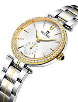 cheap -Women's Steel Band Watches Quartz Modern Style Stylish Casual Water Resistant / Waterproof Cubic Zirconia Stainless Steel White / Gold Analog - Golden+White White / Japanese