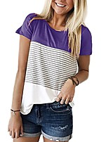 cheap -women's short sleeve round neck triple color block stripe t-shirt casual blouse purple