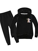 cheap -Kids Boys' Active Basic Holiday Daily Wear Athleisure Black Print Patchwork Print Long Sleeve Regular Regular Clothing Set Black