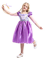 cheap -Princess Rapunzel Flapper Dress Cosplay Costume Outfits Girls' Movie Cosplay Active Purple Dress Headwear Halloween Children's Day Masquerade Polyester Organza