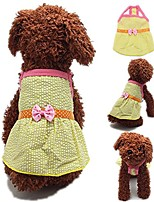 cheap -cute dog skirt, small yellow plaid polka dot bowknot ribbon braces best sundress for pet puppy