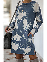 cheap -Women's Shift Dress Knee Length Dress - Long Sleeve Print Print Summer Casual Boho Loose 2020 Blue S M L XL XXL 3XL
