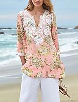 cheap -Women's Blouse Shirt Graphic Prints Print U Neck Tops Basic Basic Top Blushing Pink